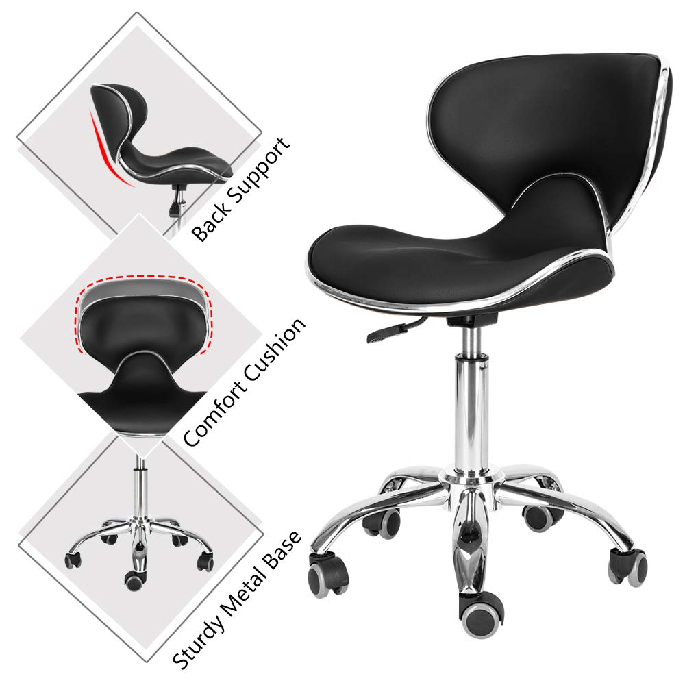Mefeir Hydraulic Rolling Salon Stool Padded with Back Rest, Modern Cushion Drafting Chair on Wheels for Office Home Counter, Height Adjustable Swivel Barstool, PVC Leather