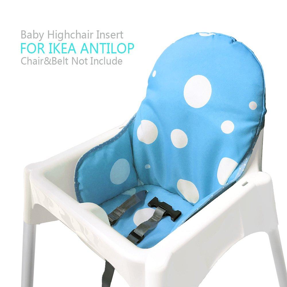 ZAMA Cojines para Trona de bebe Ikea Antilop,Lavable, Plegable, Silla Alta Cojines para Bebé,No Incluye Trona y CinturóN de Seguridad(Azul): Amazon.es: Bebé