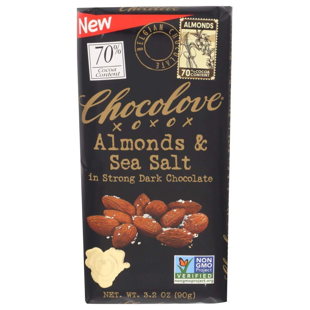 Chocolove, Chocolate Bar Dark Almonds Sea Salt 70%, 3.2 Ounce