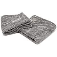 """[Dreadnought] Microfiber Car-Drying Towel, Superior Absorbency for Drying Cars, Trucks, and SUVs, Double-Twist Pile, One-Pass Vehicle-Drying Towel (Jr. (16""""x16""""), Gray)"""
