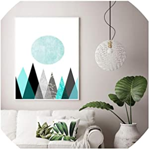 Wall Art Canvas Wall Art Poster Printed Abstract Geometry Pictures On Canvas Painting for Living Room Minimalist Decor,21X30Cm Framed,Download