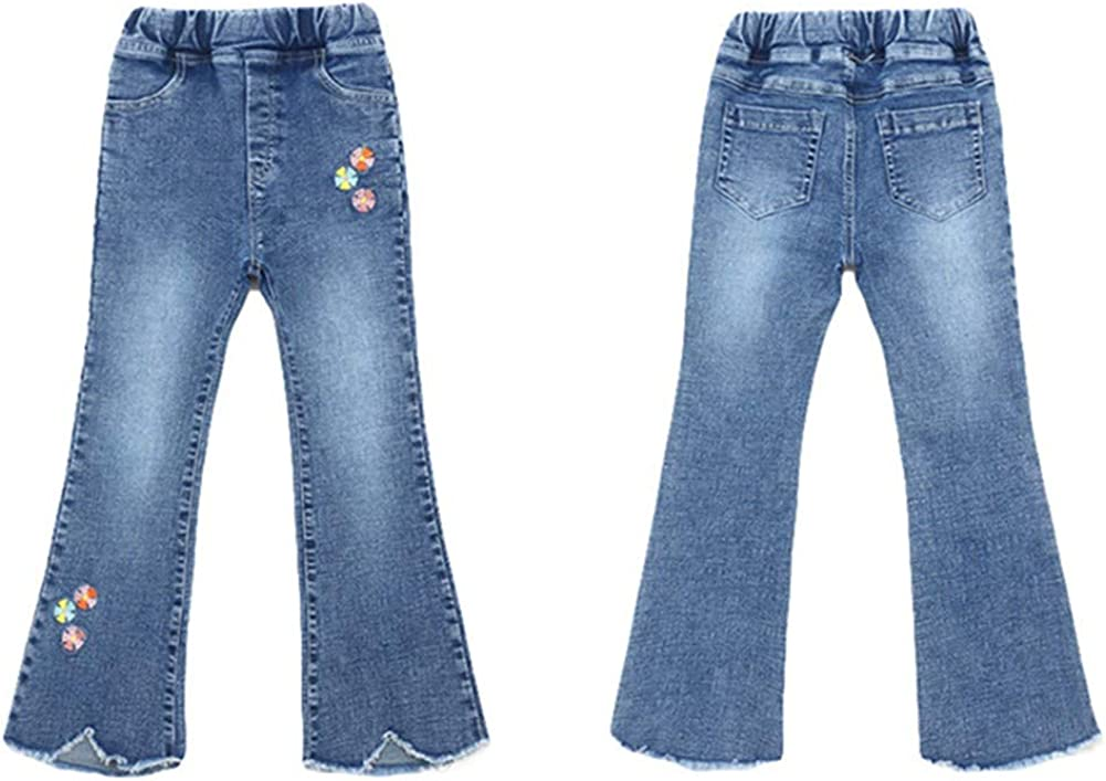Shiningbaby Girls Jeans for 3-12 Years Old,Flower Embroidery Kids Flare Denim Pant Fashion Outfit