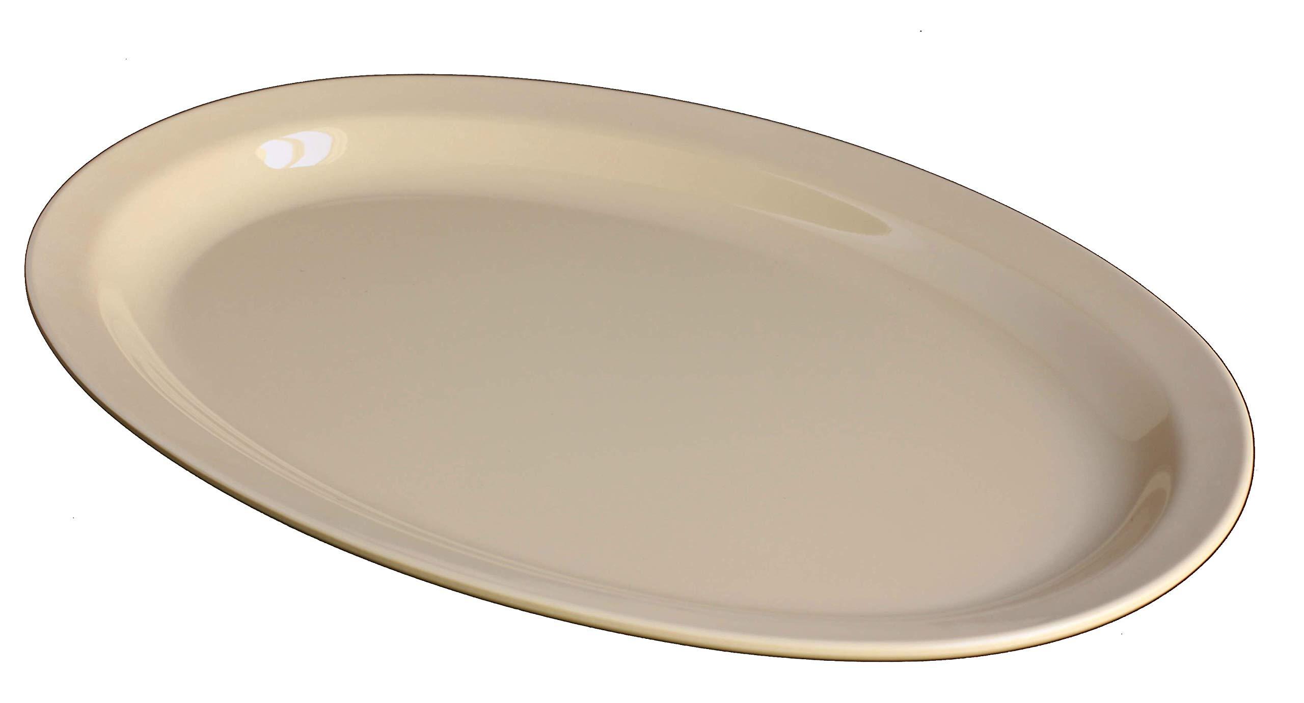 Z-Moments Western Melamine 513 Oval Plate Narrow Rim Platter 13'' X 8-1/2'', 48-pcs per case (4 dozen) NSF (Tan)