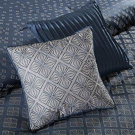 Geometric Duvet Cover Set Purple 6 Piece Ultra Soft Microfiber Light Weight Bed Comforter Covers Madison Park Biloxi Duvet Cover King//Cal King Size