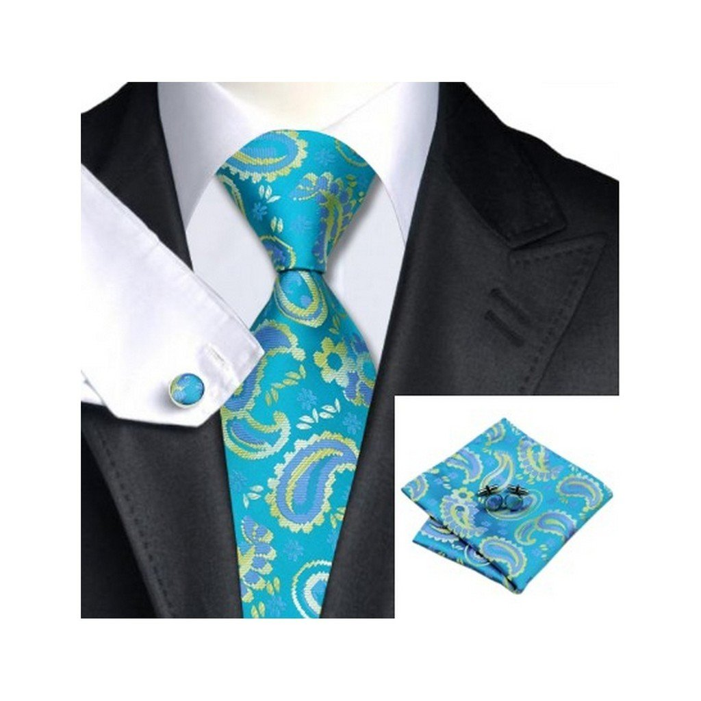 Yellow Purple Paisley Classic Silk Necktie Tie Hanky and Cufflinks Set For Men