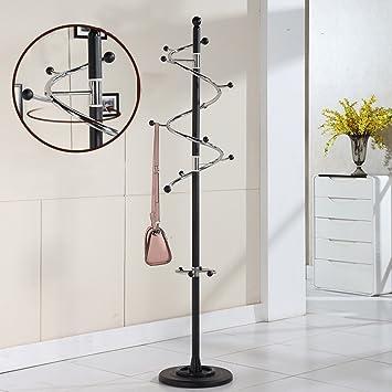 WURE Metall Edelstahl Kleiderständer Einrichten Drehgestelle Schlafzimmer  Interior Wohnzimmer Kleiderbügel (Farbe : Schwarz)