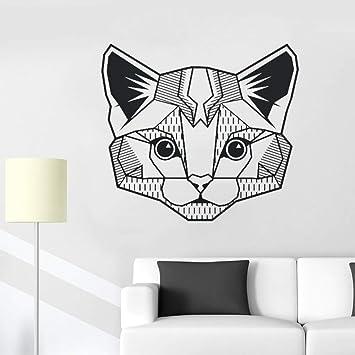 hllhpc Gato geométrico Tatuajes de Pared Dormitorio Habitación del ...