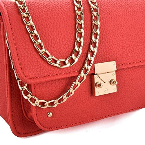 Pelle Catena Rosso Moda Borsa Quadrato Donna red Classe Tappeto Glitzall Tracolla Di A In qYzn4