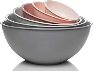 Cook with Color Mixing Bowls with Lids - 12 Piece Plastic Nesting Bowls Set includes 6 Prep Bowls and 6 Lids, Microwave Safe Mixing Bowl Set (Pink Ombre)