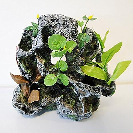 Adorno de resina para acuario Boyu - Lava grande con planta: Amazon.es: Productos para mascotas