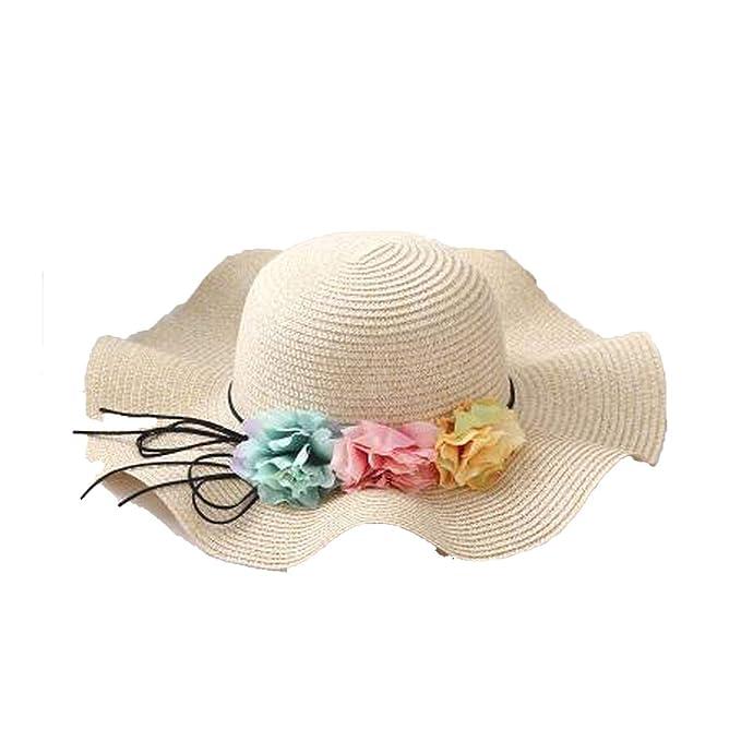 3771a9c06 Fashion Sun Hats Flower Sun Hats Girl Wave Wide Brim Straw Hat ...
