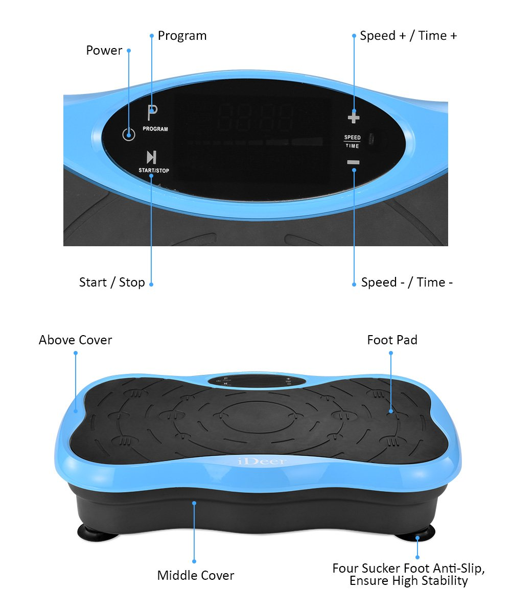 iDeer Vibration Platform Fitness Vibration Plates,Whole Body Vibration Exercise Machine w/Remote Control &Bands,Anti-Slip Fit Massage Workout Vibration Trainer Max User Weight 330lbs (Blue09004) by IDEER LIFE (Image #3)