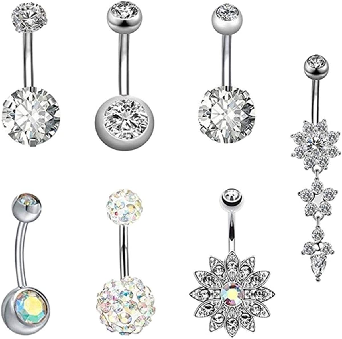 Anime DIY 7Pcs/Set New Summer Style Umbilical Nails Set Navel Body Piercing Stainless Steel Crystal Belly Button Ring For Women Jewelry