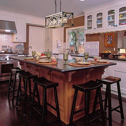 Kitchen Table Light Fixture Ideas: LALUZ Farmhouse Wood Linear Island Chandeliers 4-Light