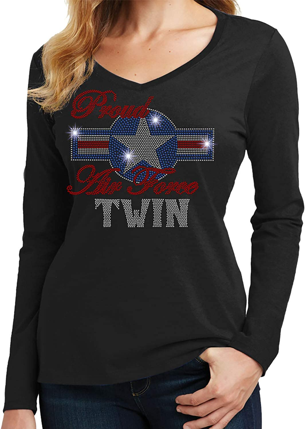 Armed Forces Spangle Rhinestone Bling Shirt Air Force Pride Beckys Boutique Proud Air Force Twin