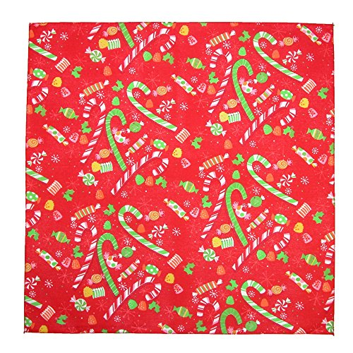CTM Christmas Candy Cane Print Holiday Bandana, Red