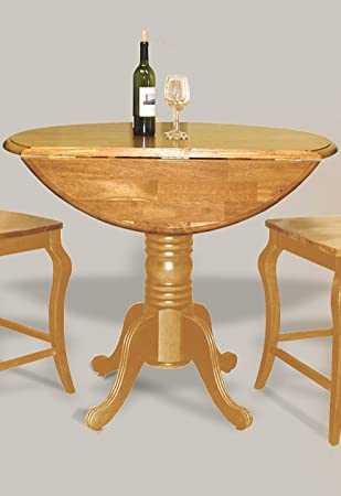 Sunset Trading Round Drop Leaf Pub Table, Light Oak Finish