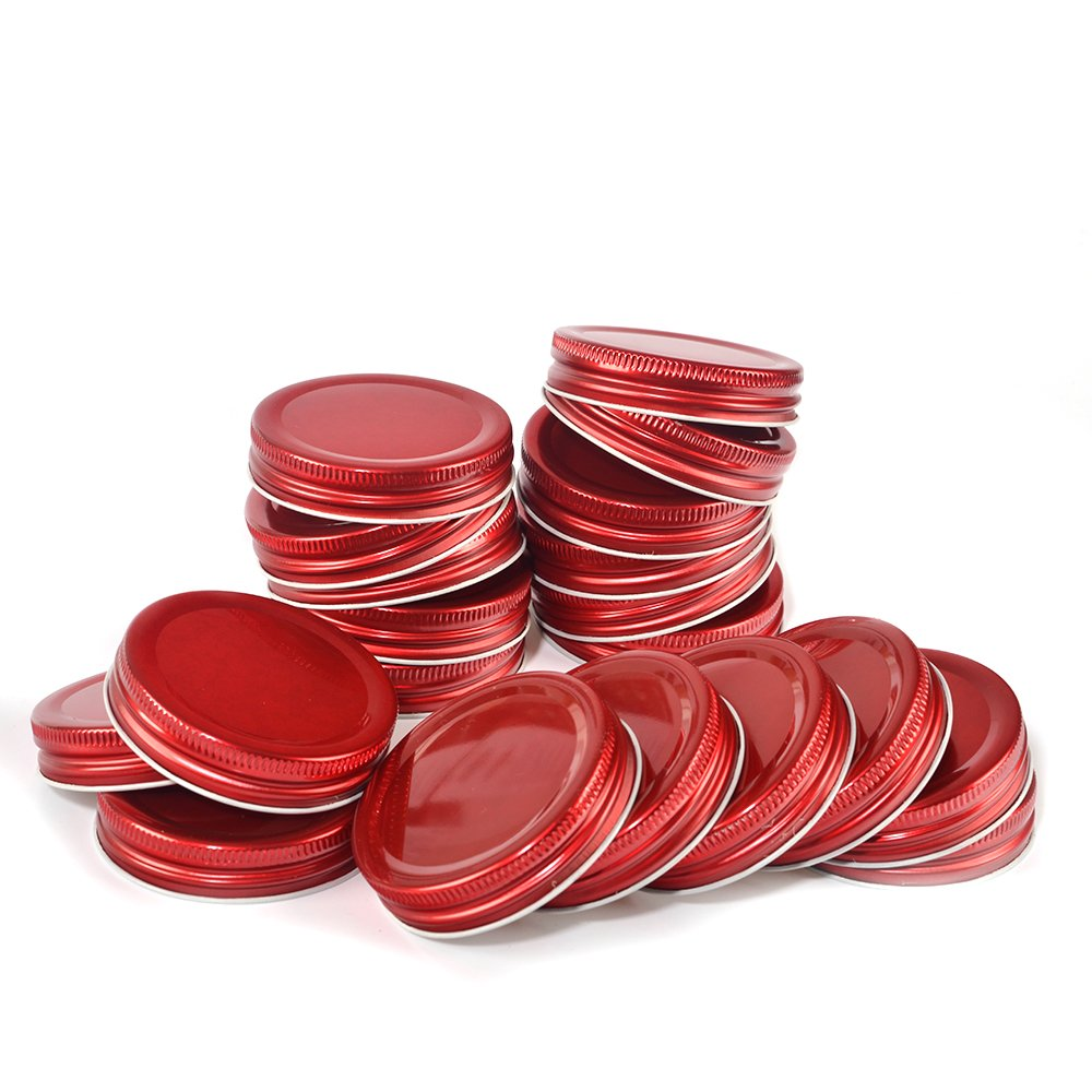20 Pack, Mason Jar Lids Caps with Silicone Seals, Regular Mouth, Leak Proof and Secure (Red)