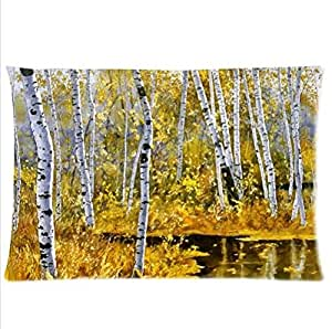 Best Custom Pillowcase-Autumn Birch Tree Pillowcase,Twin Sides Pillowcase Pillow Cover 20x30 inches