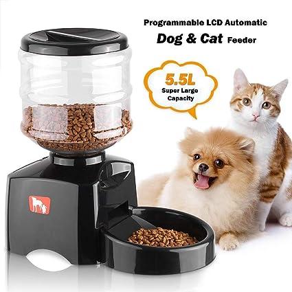 MRXUE Alimentador Automático De Pet 5.5 L LCD para Gatos Perros Conejos Bowl 3 Comida/