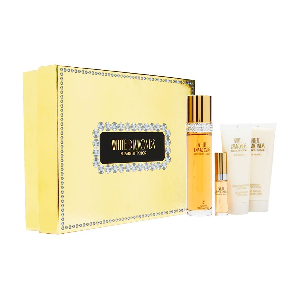 White Diamonds by Elizabeth Taylor Eau De Toilette Spray Set, 4 Piece Gift Set GXP-7804