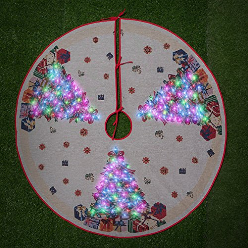 Arelux LED Christmas Tree Skirt | Seasonal Tree Ornaments with Optical Fibers| Holiday Christmas Tree Decoration - Glow Christmas Tree Skirt | 54 inches -- Super Big Size for more Gifts & Presents by Caramella Bubble (Image #1)