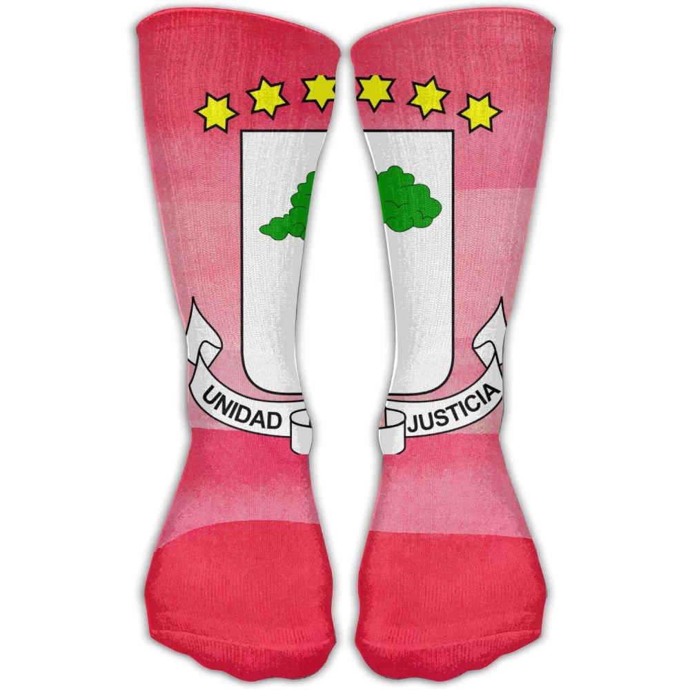 Design Coat Of Arms Equatorial Guinea Flag Novelty Art Knee High Socks For Women &Girl
