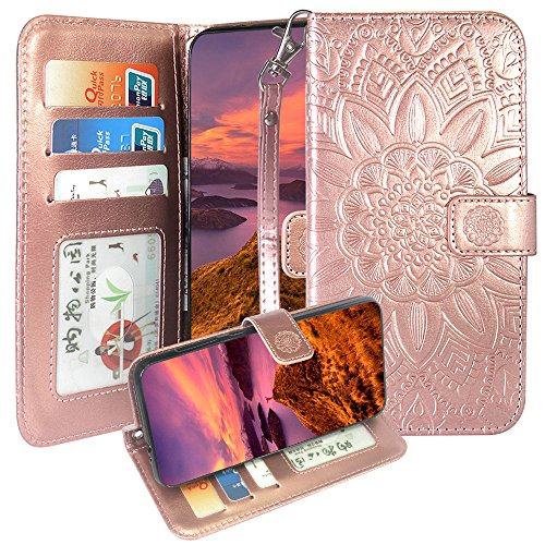 ZTE Tempo X/Go Case,Avid 4 / AVID 557 / Blade Vantage Case,Harryshell Kickstand Wrist Strap PU Leather Flip Wallet Case Protective Cover Card Slot for ZFive G LTE/C Z558VL/Z839 /N9137 (Rose Gold)