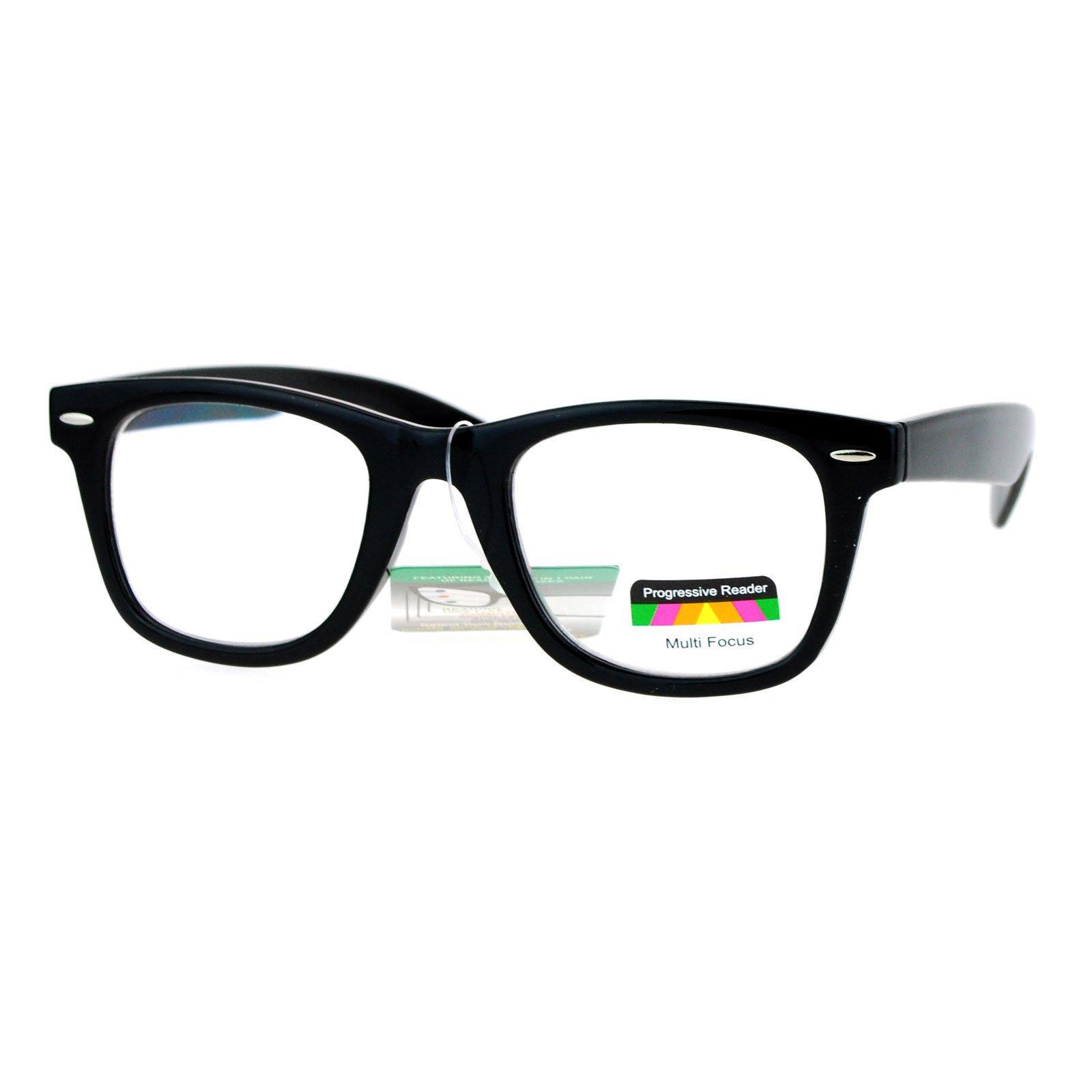 Multi Focus Progressive Reader Glasses 3 Powers in 1 Square Horn Rim Black +2.50