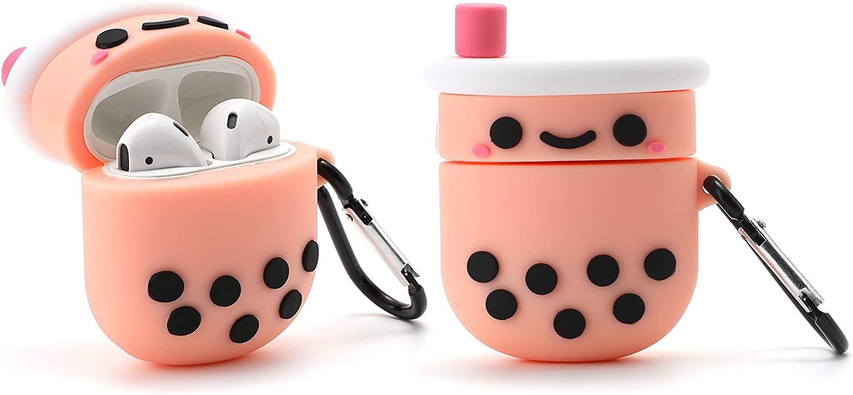 Awin Case Boba Tea Case for Airpods/Airpods 2 Case,3D Cute Cartoon Food case,3D Kawaii Kids Teens Girls Women Boba Bubble Tea Soft Silicone case for Airpods Case/Airpods 2 Case (Boba Bubble Tea)