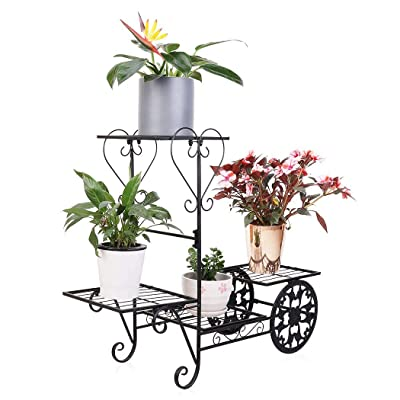 Wrought Iron Plant Stand Garden Cart 4 Tier Flower Pot Display Rack Holding Small Plants, Succulents and Decors for Home Garden, Black : Garden & Outdoor