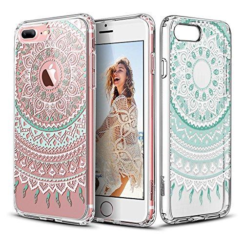 ESR iPhone 7 Plus Case, Totem Henna Mandala Floral Pattern Design with Soft TPU Bumper+Hard PC Back Cover for 5.5 iPhone 7 Plus (Mint Mandala)
