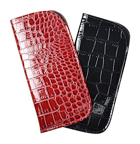 2 Pack Soft Slip In Eyeglass Case For Women & Men - Glossy Croco In Red & - Glasses Crocodile Frames
