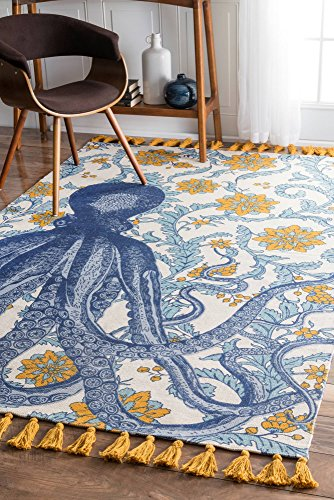 nuLOOM TATP03A Multi Thomas Paul Flatweave Cotton Octopus Area Rug, 5' x 8', Multicolor