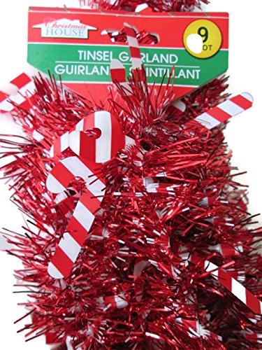 Metallic Winter Holiday Tinsel Garland, 9 Feet (candy (Xmas Cane)