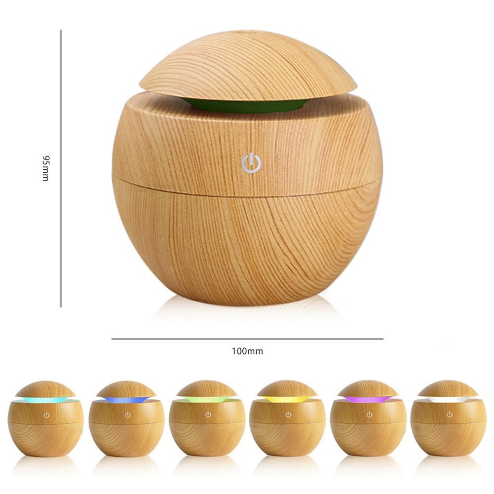 Toogoo USB Aroma Humidifier ESSential Oil Diffuser Ultrasonic Cool Mist Humidifier Air Purifier 7 Color Change LED Night light for Office Home:Light Wood by Toogoo (Image #6)