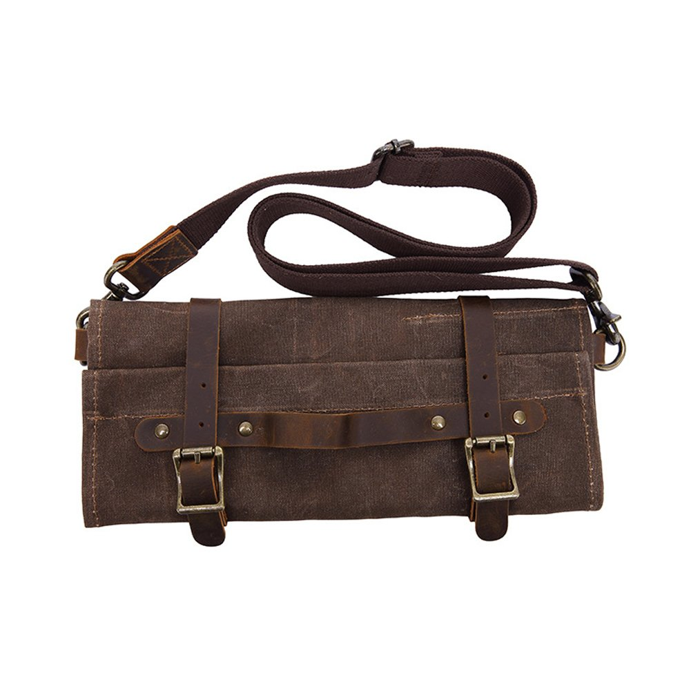 Multifunctional Tool Roll 7 Pockets Wrench Roll Up Pouch Waxed Canvas+Crazy Horse Leather Portable Big Tote Shoulder Bag Father's Gift for Handymen Plumber Craftsmen Repairmen GJB60 (coffee)