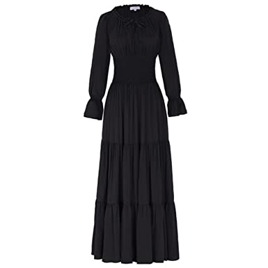 Jessieco Medieval Dress Cotton Long Maxi Dresses Gowns Victorian Gothic Lo Vintage Long Sleeve Renaissance Dress