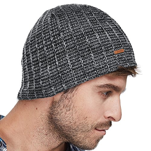 Pink Leather Skull Cap - LETHMIK Knit Skull Beanie Cap Winter Warm Daily Hat with Mix Mesh Knitted Grey