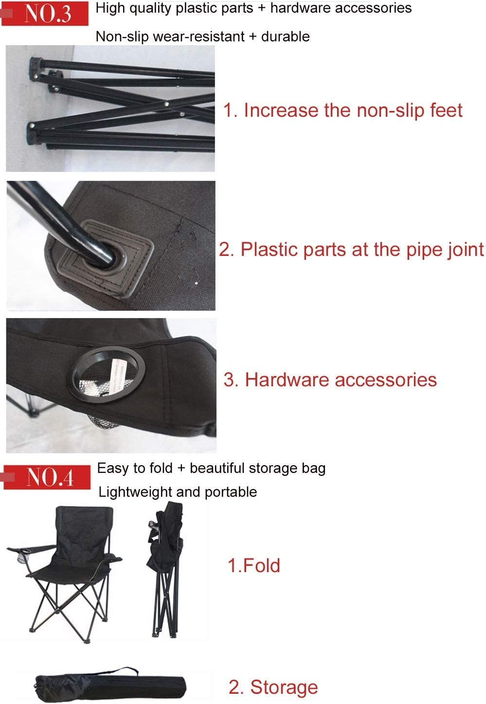 Outdoor Folding Chairs, Portable Wearable Oxford Cloth Beach Chair Fishing Armchair Leisure Picnic Camping Travel Stool For Camping, Festivals, Garden Black