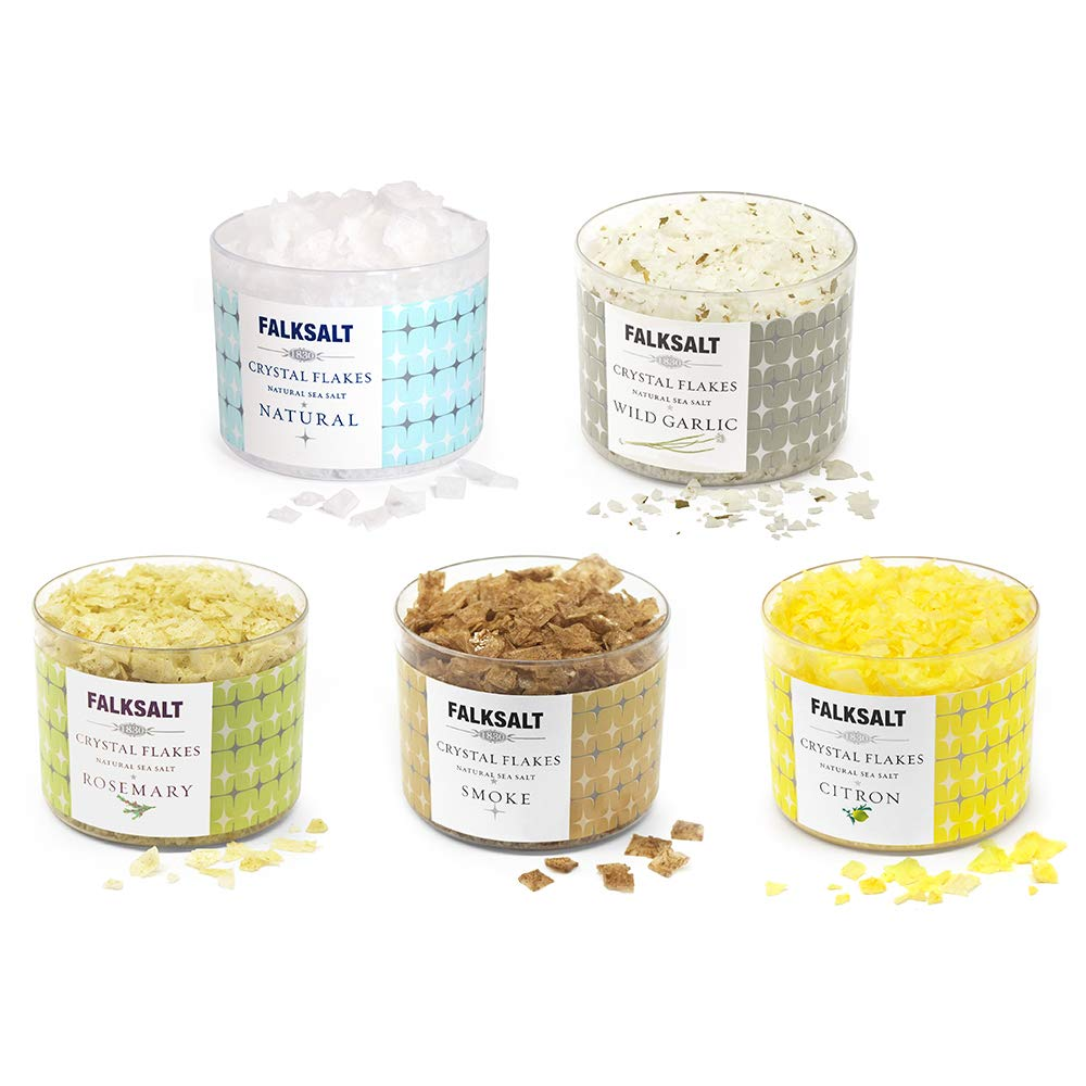 FALKSALT 5-Pack 2.47 oz Sea Salt Flakes (Natural, Smoke, Citron, Wild Garlic, and Rosemary)