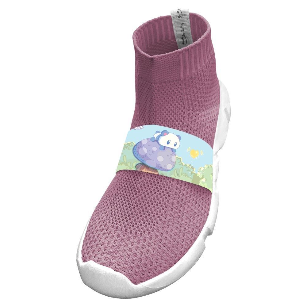Fly Knit Lightweight Kawaii Panda Running No Tie Sneakers For Girls