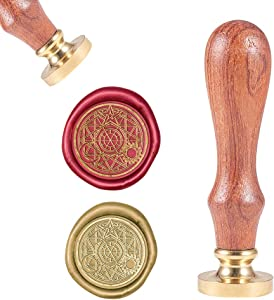 CRASPIRE Magie Die Wax Seal Stamp, Vintage Wax Sealing Stamps Magic Array Retro Wood Stamp Removable Brass Head 25mm for Wedding Envelopes Invitations Embellishment Bottle Decoration Gift Packing