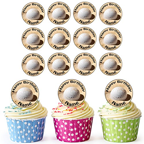 AKGifts Golf Ball And Sand 30 Personalised Edible Cupcake Toppers / Birthday Cake Decorations - Easy Precut Circles