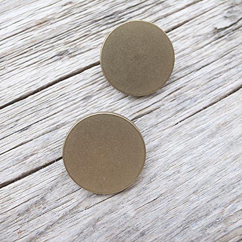 【フラット足付き】メタルシンプルボタン #C601 1穴 23mm C/#AP ライトアンティークゴールド 2個セット