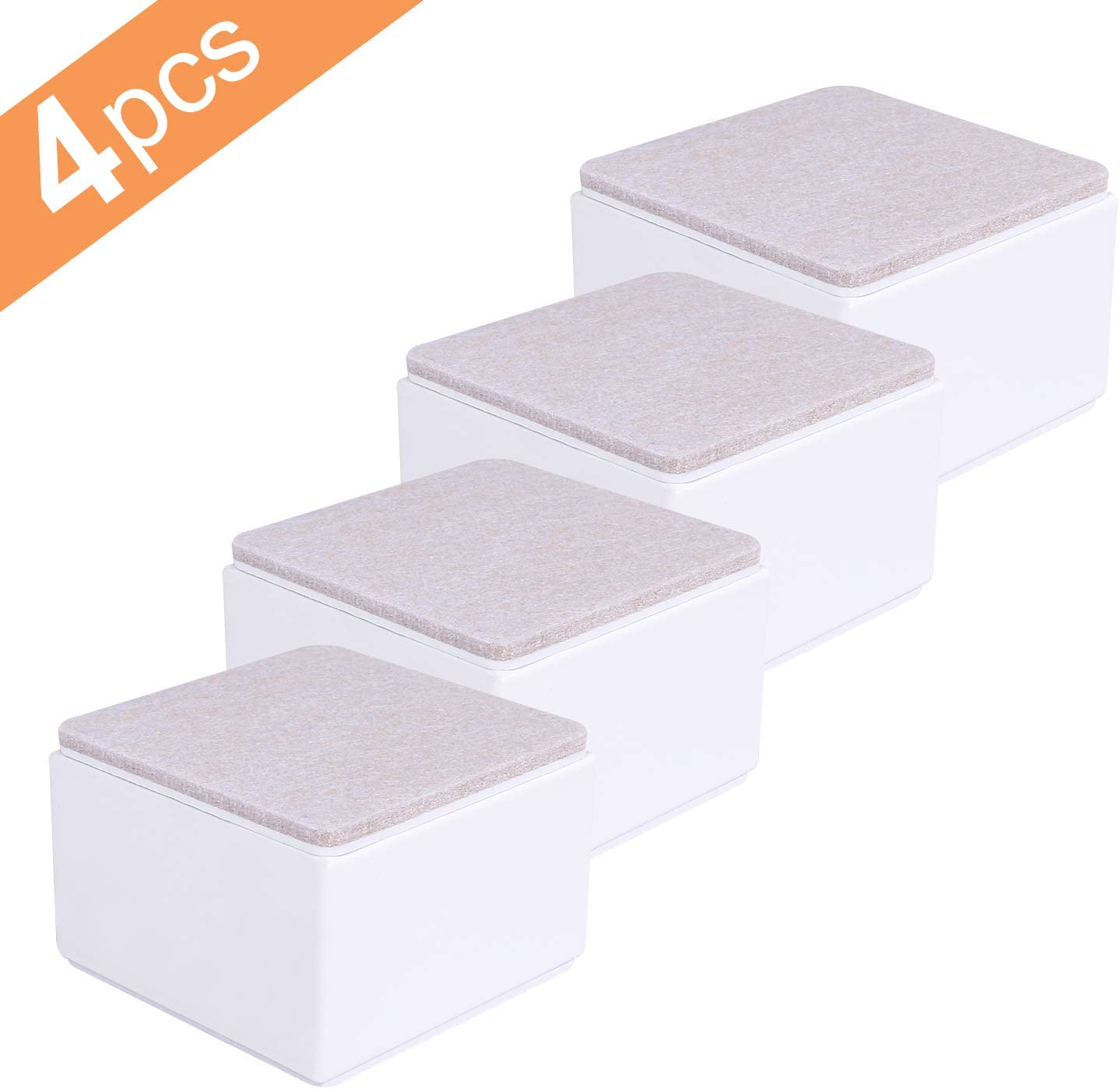 """Ezprotekt 3.15 x 3.15 x 2 Inch Square Bed Risers - Solid Steel Bed or Furniture Post, Creates an Additional 2"""" of Height or Storage! Heavy-Duty Table, Chair, Desk or Sofa Riser (Square, White)"""