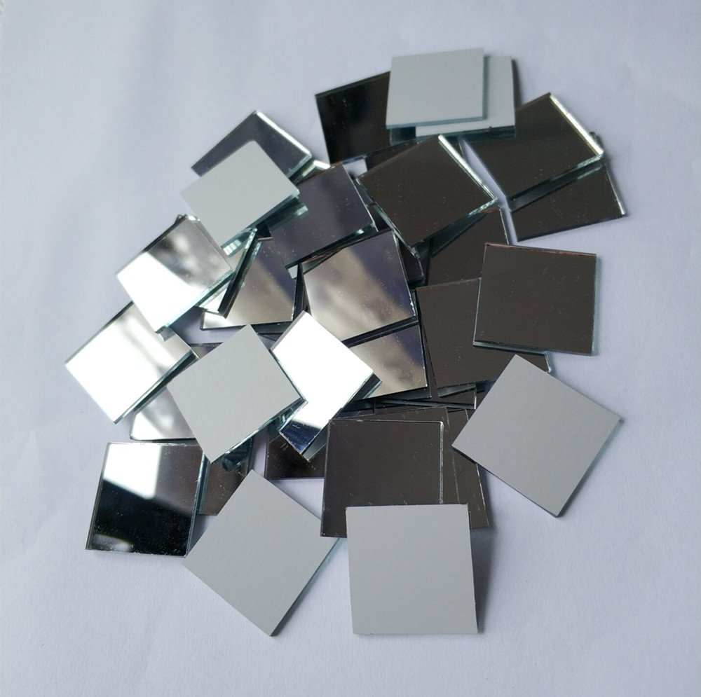 Set of 200pcs Small Square Glass Crafts, Real Glass Mirror Mosaic Tiles 1x1cm (1x1CM) MEYA
