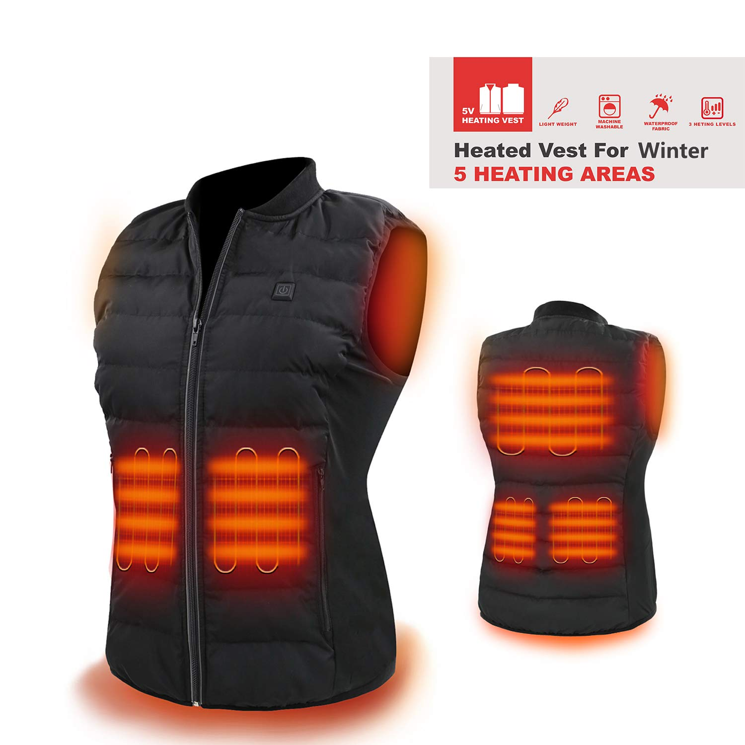 HOOCUCO Heated Vest, Washable Size Adjustable USB Charging,3 Temp Setting Heating Warm Vest for Outdoor Camping Hiking Golf Rechargeable Heated Clothes Warm for Men Women (Battery not Include)(X-L) by HOOCUCO