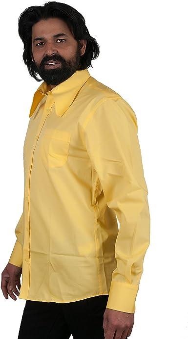 Comycom Camisa de los años 70, color amarillo claro