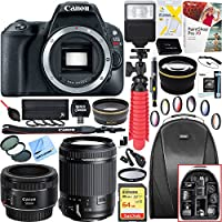 Canon EOS Rebel SL2 24MP DSLR Camera Body - Black with Tamron 18-200mm Di II VC All-In-One Zoom Lens + Canon EF 50mm f/1.8 STM Prime Lens Plus 64GB Accessory Bundle